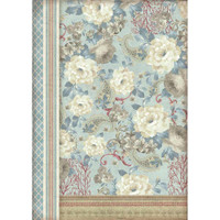 Stamperia - Decoupage Rice Paper A3 - Grand Hotel Collection - Dahlias On Light Blue Background (DFSA3039)