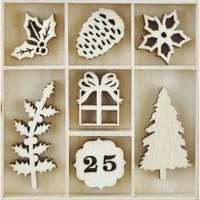 Kaisercraft - Flourish Wooden Pack - Traditional Christmas - 35/pkg (FL608)