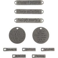 Tim Holtz - Idea-ology - Metal Adornments 10/Pkg - Antique Nickel Halloween Words (TH93966)