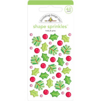 Doodlebug Sprinkles Adhesive Enamel Shapes - Christmas Magic - Holly & Pine (DS6444)