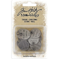 Tim Holtz - Idea-Ology - Metal Typed Tokens 18/Pkg - Christmas 2019 (TH93997)