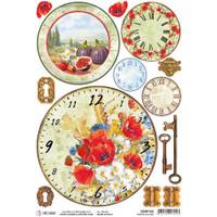 Ciao Bella - Rice Paper Sheet - Under the Tuscan Sun - Tuscan Clocks (CBRP100)