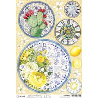 Ciao Bella - Decoupage Rice Paper Sheet - Sicilia - Orologi di Maiolica (CBRP094)