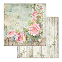 Stamperia - Double-Sided Cardstock 12x12 - House of Roses - Fence with Roses (SBB675)