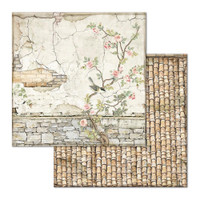Stamperia - Double-Sided Cardstock 12x12 - House of Roses - Small Bricks w/tree (SBB678)