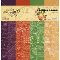 Graphic 45 - 12x12 Patterns & Solids Paper Pad 16/Pkg - Fruit & Flora (G4502001)