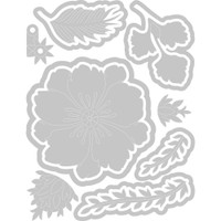 Peony Pop-Up: 13 dies. Approximate die-cut sizes: between .25x.25 inches and 2.875x2.875 inches.