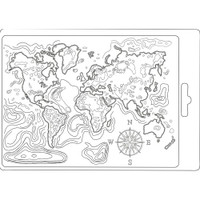 """Stamperia Soft Maxi Mould 5.75""""X8.25"""" - Map Of The World (K3PTA544)"""