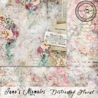 Blue Fern Studios - Jane's Memoirs - 12x12 dbl sided paper - Distressed Floral (700574)