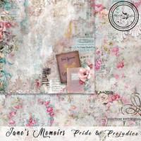 Blue Fern Studios - Jane's Memoirs - 12x12 dbl sided paper - Pride & Prejudice (701175)