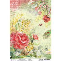 Ciao Bella - Decoupage Rice Paper A4 - Microcosmos - Roses and Bugs (CBRP116)