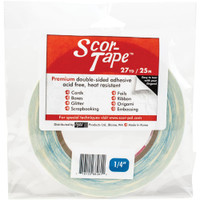 "SCOR-TAPE Double-Sided Tape - 1 roll 1/4""x 27yrds (SP202)"