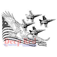 "Deep Red - Cling Stamp 3.2""X2.1"" - Soaring Eagle With Angels (3X505908)"