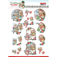 Find It Trading - Yvonne Creations - Christmas Village - Punchout Sheet - Christmas Owls (SB10475)