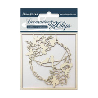 """Decorative Chips 3.75""""X3.75"""" - Garland With Birds (SCB3.5 03)"""