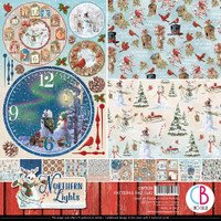 """Ciao Bella - Double-Sided Paper Pad 12""""X12"""" 8/Pkg - Northern Lights - Patterns Pad (CBT038)"""