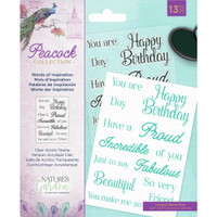 Crafter's Companion - Clear Stamps - Nature's Garden - Peacock - Words Of Inspiration (EASTWOI)