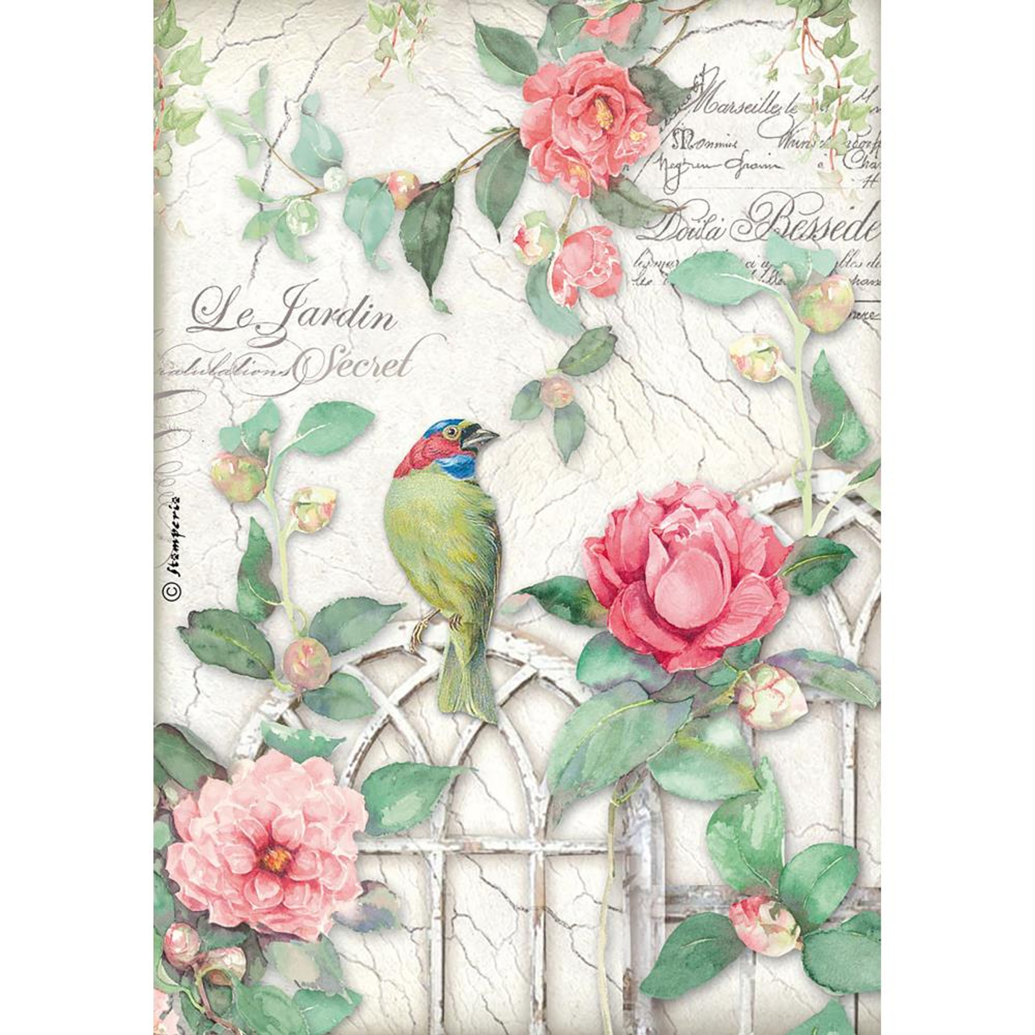 Rice Paper A4 Scrapbooking Love Birds Sheet for Decoupage