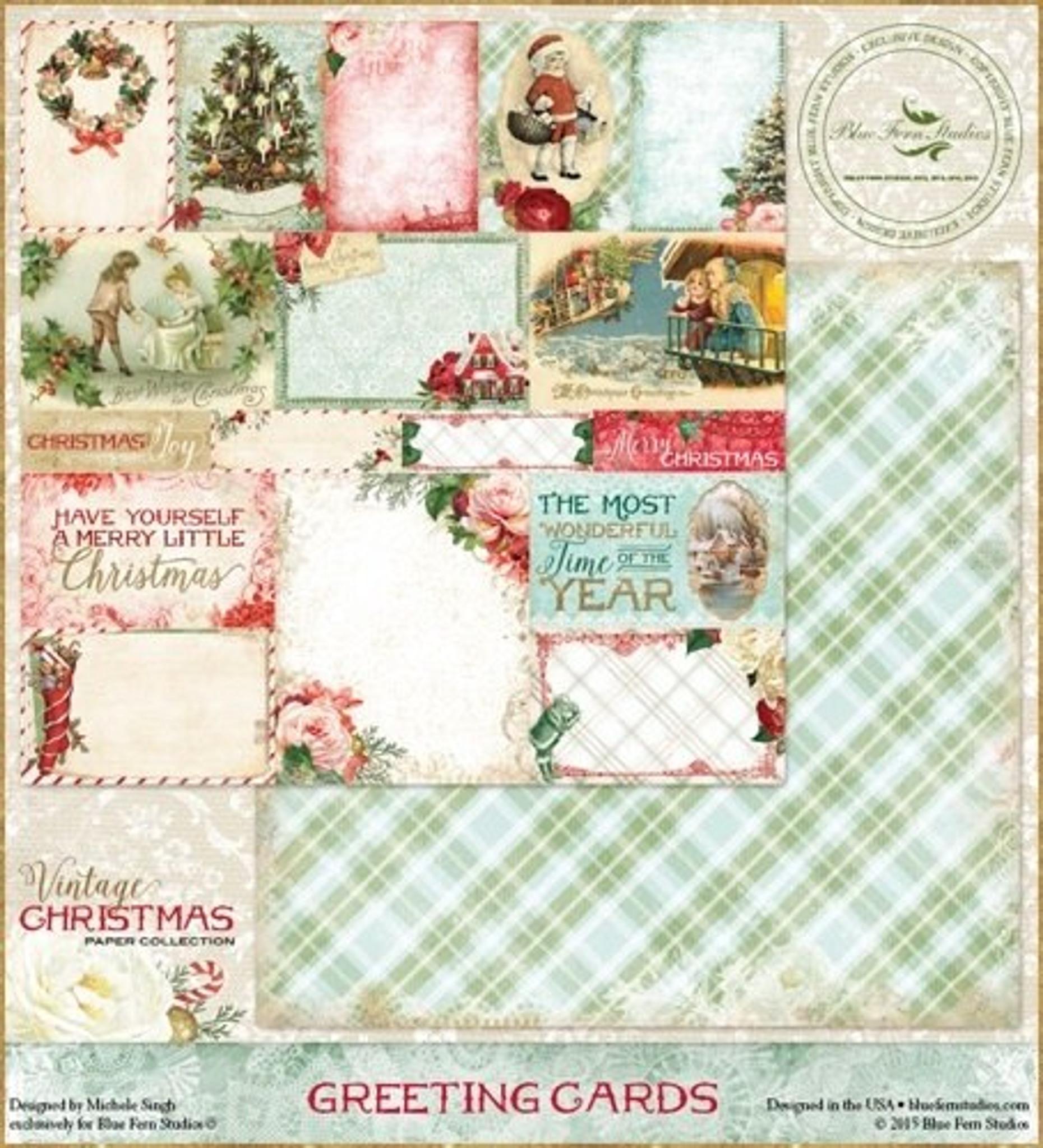 Christmas Scrapbook Paper.Blue Fern Vintage Christmas 1 2 Collection 12 Double Sided Scrapbook Paper