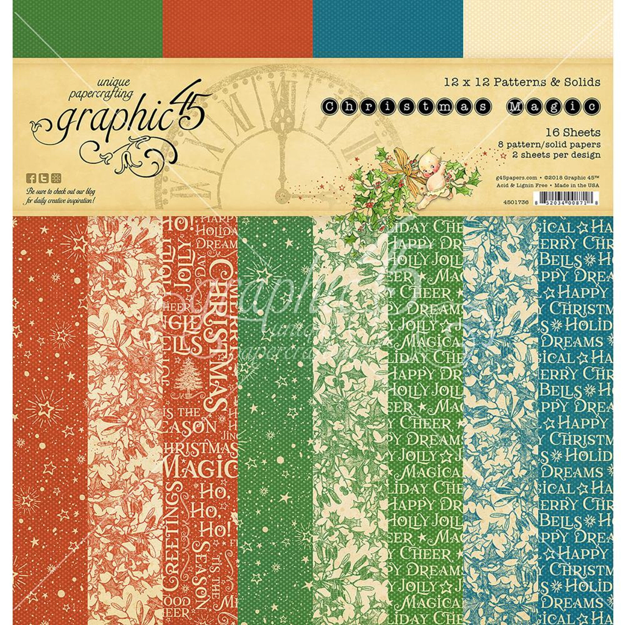 """Graphic 45 /""""Christmas Magic/"""" 8 Sheets 12x12 Patterns /& Solids Paper"""