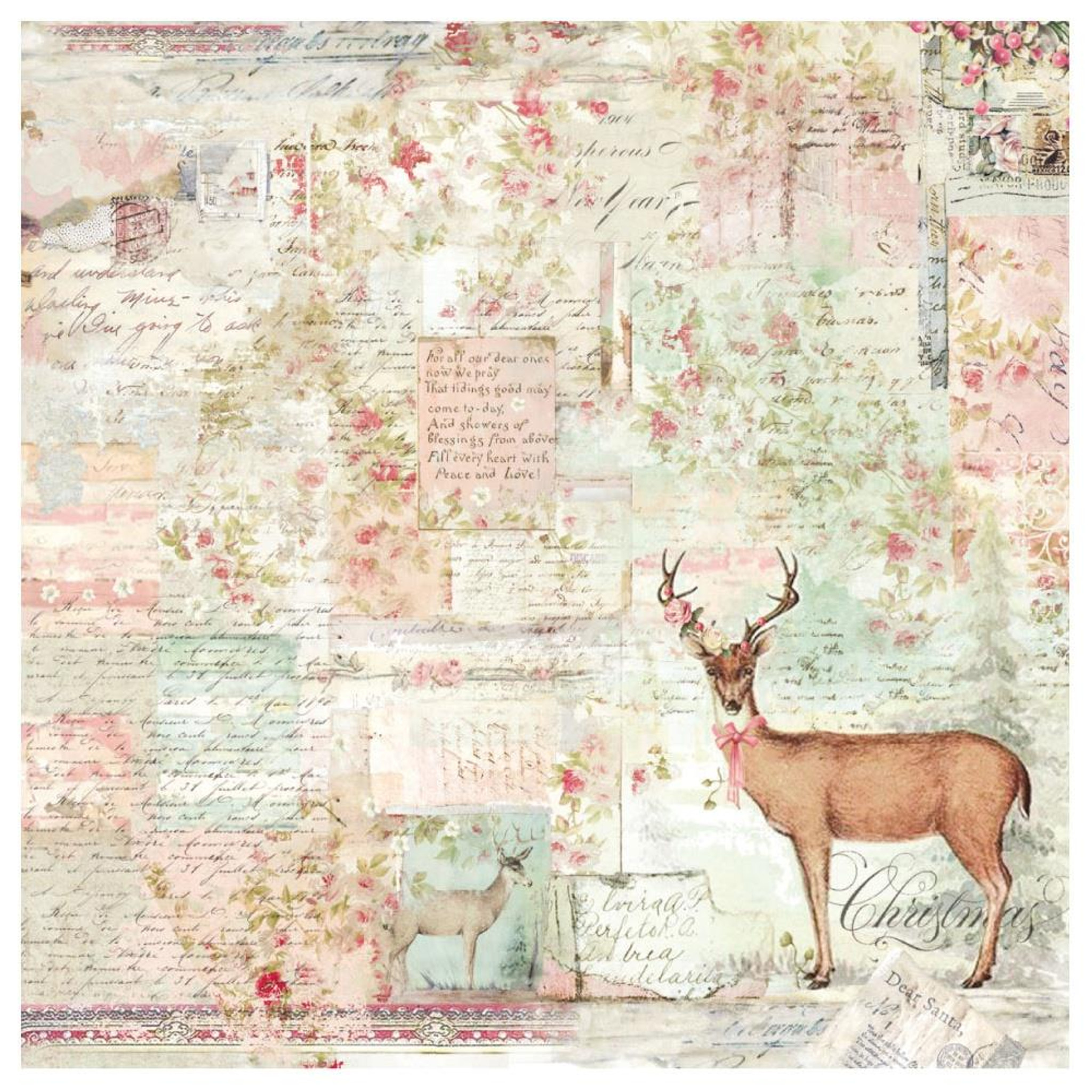 STAMPERIA A4 Decoupage Rice Paper packed Winter Botanic reindeer*Specialty Paper