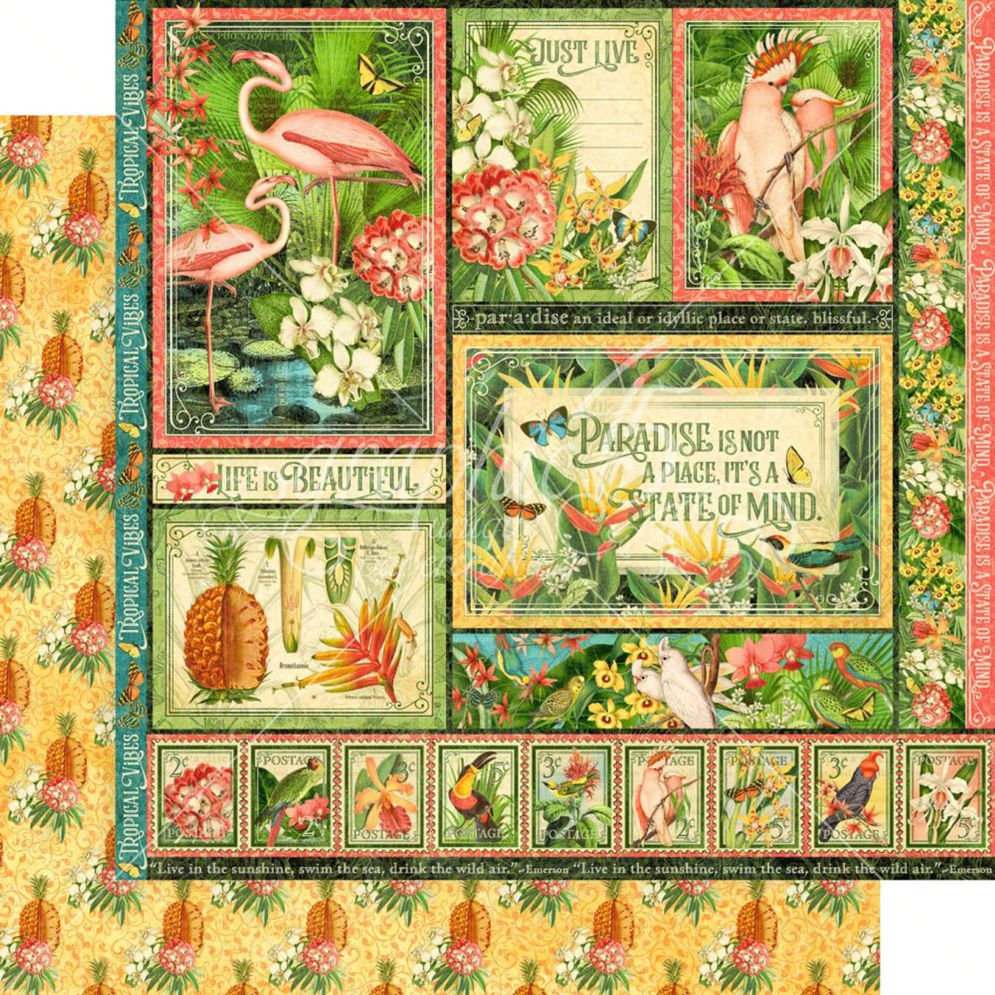 "GRAPHIC 45 Lost in Paradise 12x12 Paper Pack 16 sheets *12/""x12/"" Scrapbook Paper"