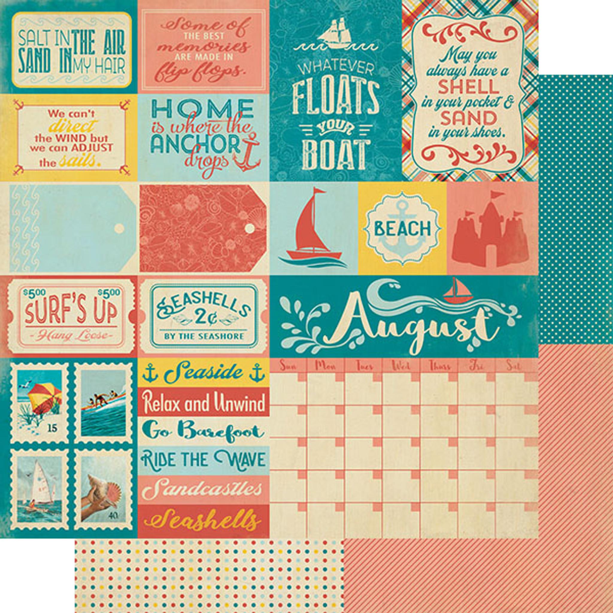 "2 sheets Bo Bunny  Calendar Girl 12x12/"" Paper August"