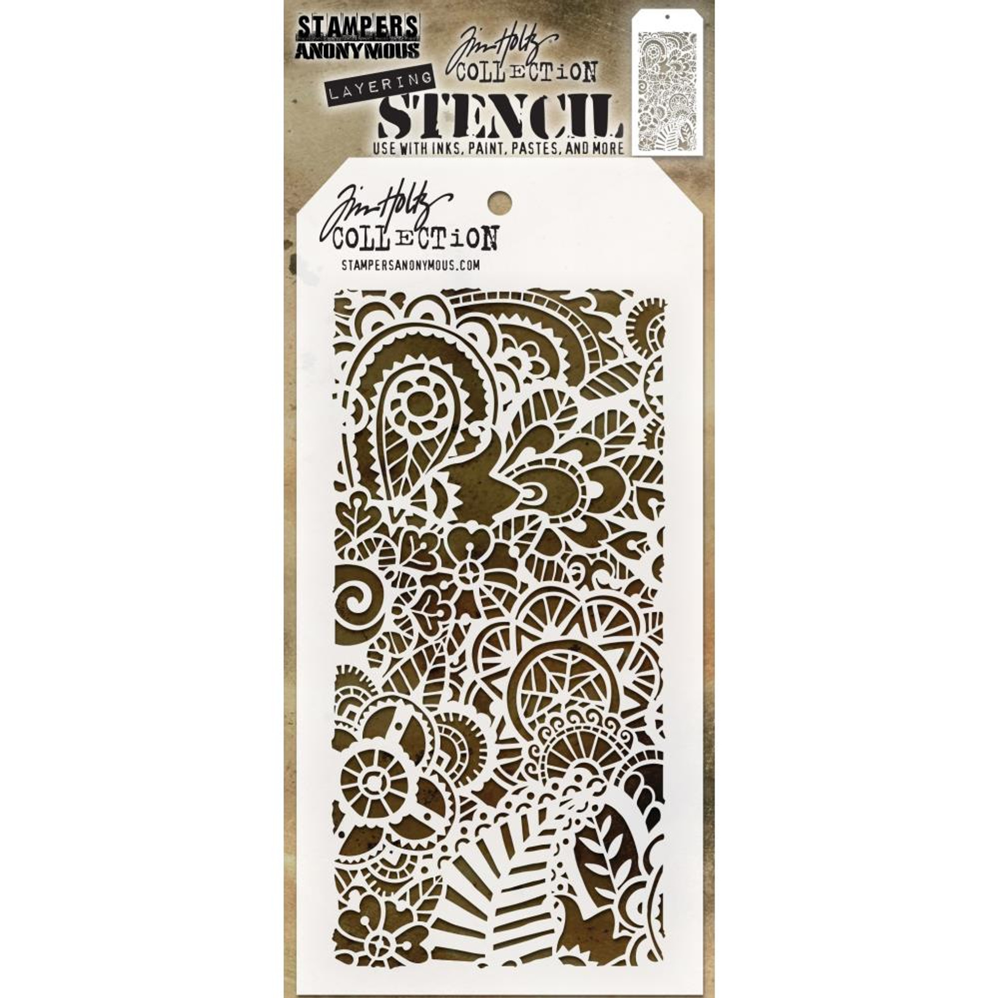 "Stampers Anonymous Tim Holtz Layered Stencil 4.125/""X8.5/""-Doodle"