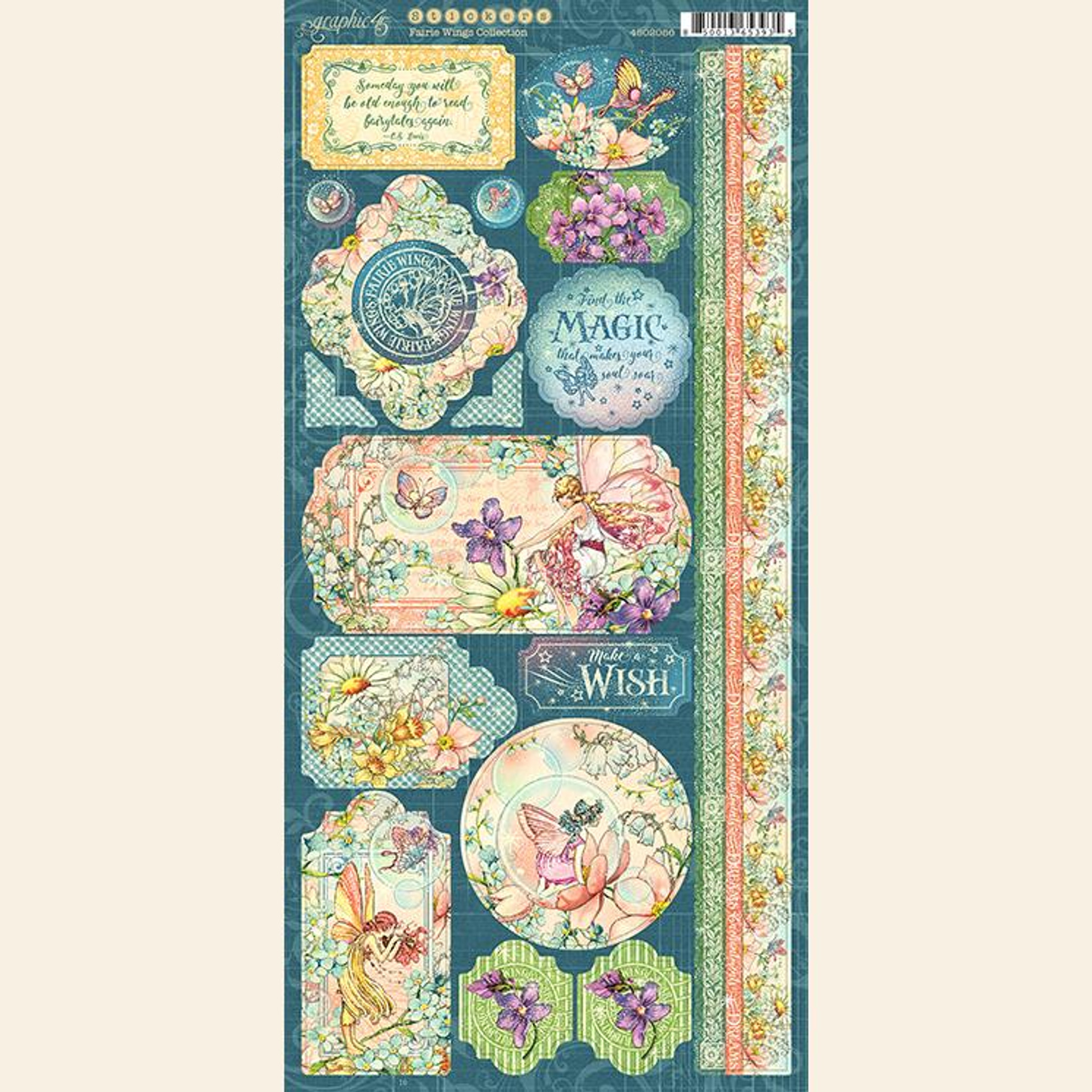 "Graphic 45 /""Fairie Wings/"" Stickers Fairy Garden Scrapbook Mixed Media"