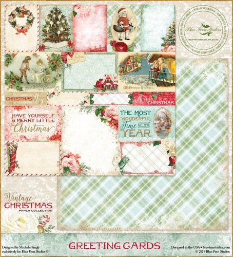 Vintage Christmas Cards.Blue Fern Studios Vintage Christmas 1 12x12 Dbl Sided Paper Greeting Cards