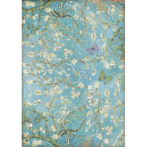 Stamperia papier de riz A4-BLUE Tulip DASF 4355 nouveau
