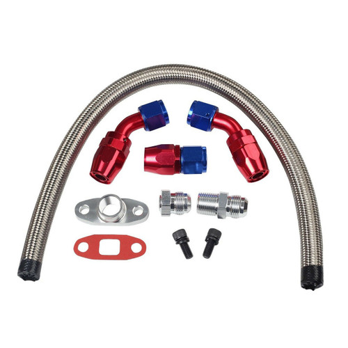 TPS - Universal AN10 Braided Stainless Steel Turbo Oil Drain Return Line Kit