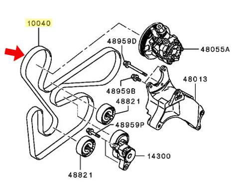 Mitsubishi OEM Alt. Belt - Lancer Ralliart, EVO X