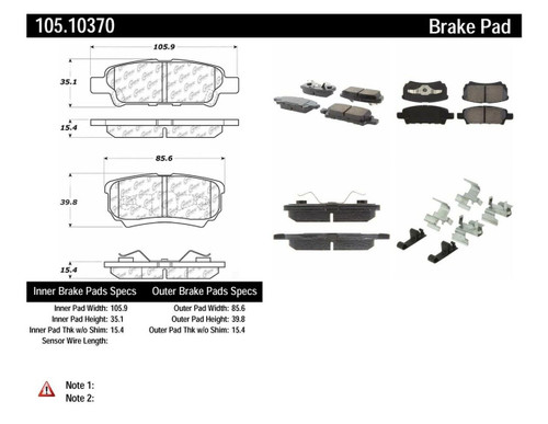 105.10370 Posi Quiet Ceramic Rear Brake Pads - Mitsubishi, Chrysler, Dodge