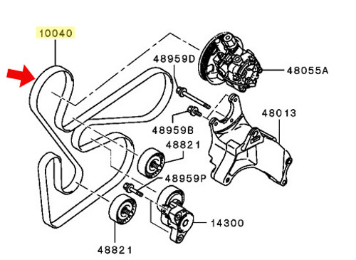 Mitsubishi OEM Alt. Belt - Lancer 2.0L, 2.4L MIVEC 08-13