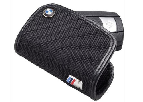 80230439629 BMW OEM Genuine M Logo Leather Small Fob Key Case - Black