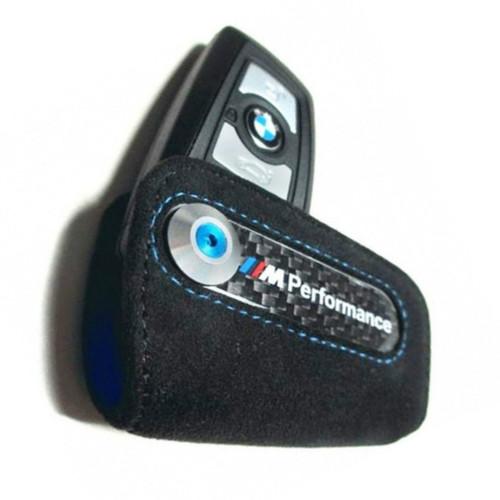 82292355518 BMW M Performance with carbon fiber Fob Key Case - Black Alcantara