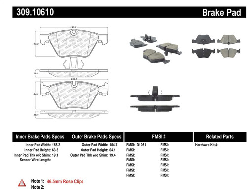 309.10610 StopTech Street Performance Front Brake Pads - BMW