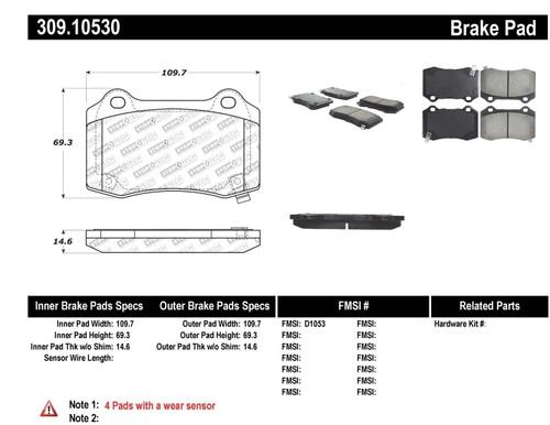 309.10530 StopTech Street Performance Rear Brake Pads - Cadillac, Chevrolet, Chrysler, Jeep, Hyundai