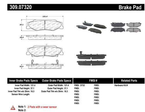 309.07320 StopTech Street Performance Rear Brake Pads - Cadillac, Chevrolet