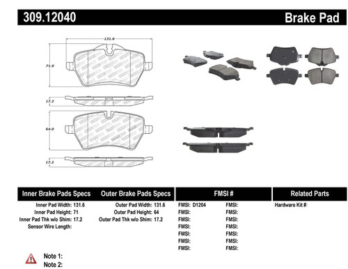 309.12040 StopTech Street Performance Front Brake Pads - MINI Cooper