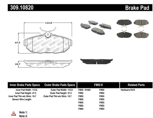309.10820 StopTech Street Performance Rear Brake Pads - Ford Mustang