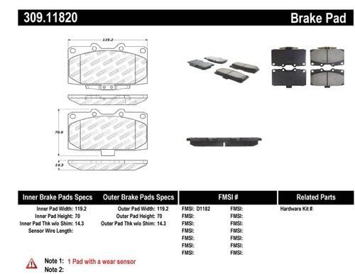 309.11820 StopTech Street Performance Front Brake Pads – Subaru, Mazda
