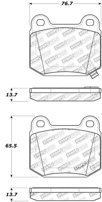309.09610 StopTech Street Performance Rear brake pads - Mitsubishi, Subaru, Nissan, OEM Brembo