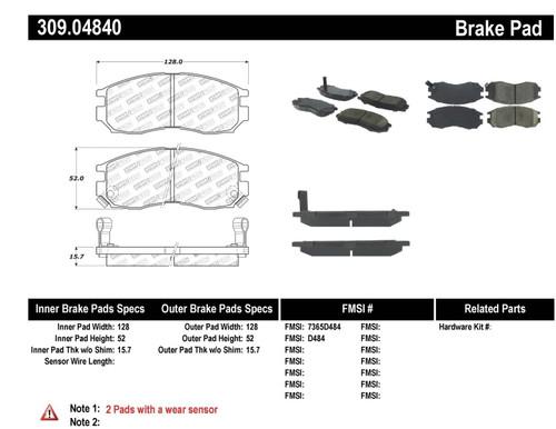309.04840 StopTech Street Performance Front Brake Pads - Mitsubishi, Chrysler, Dodge