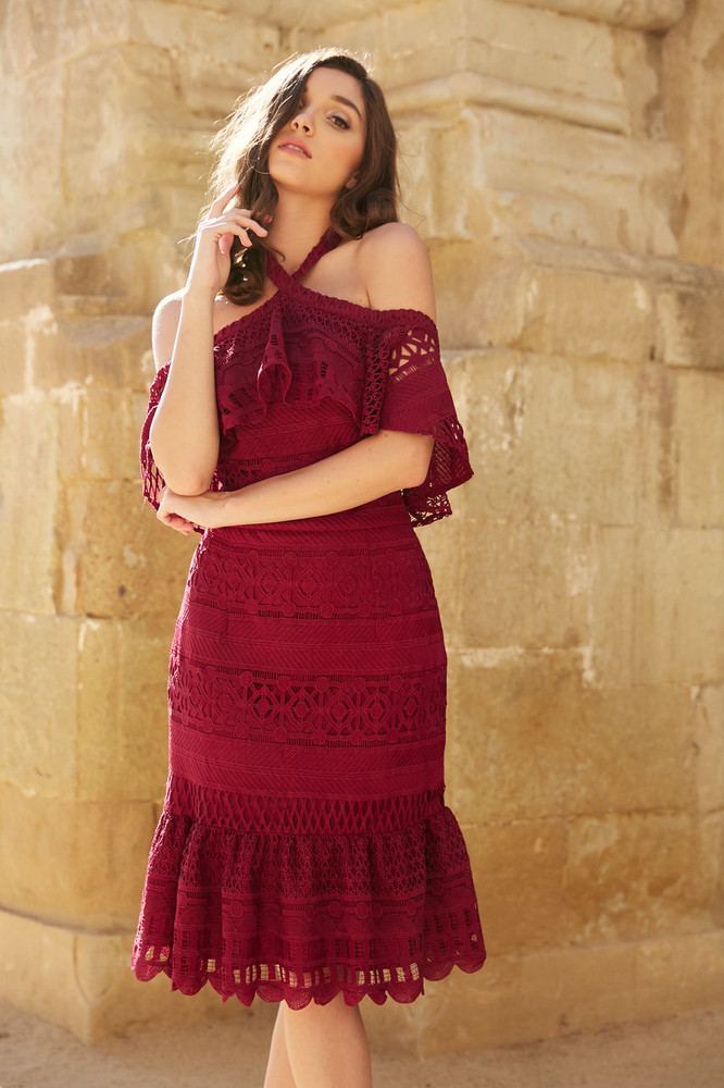 AURORA DRESS-BURGUNDY