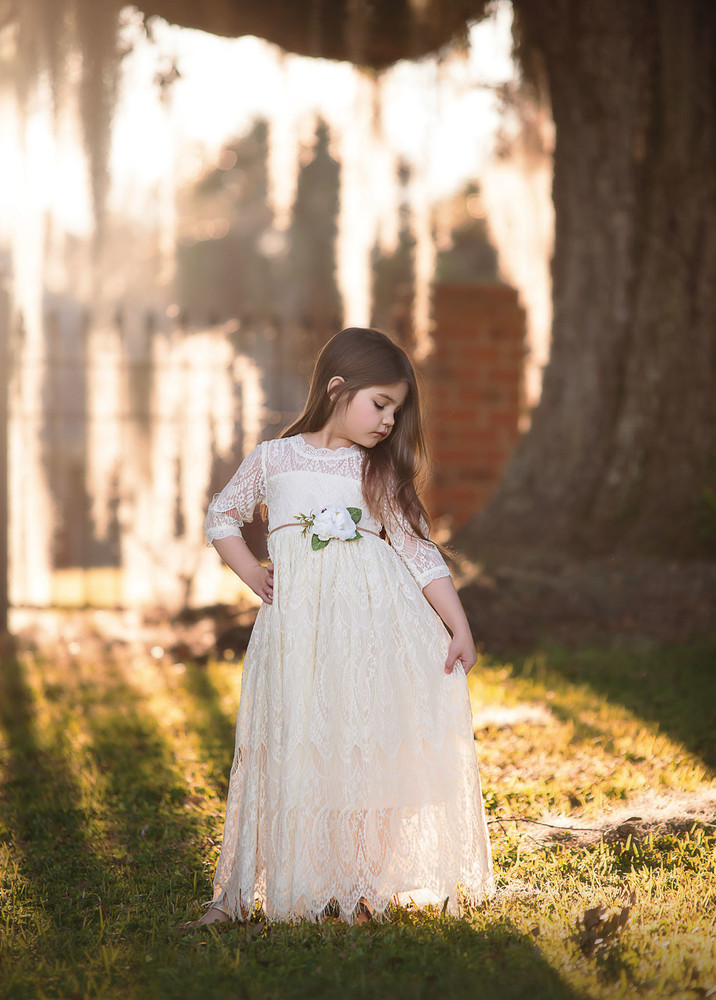 BELLA RAFAELA GOWN & BELT SET IVORY