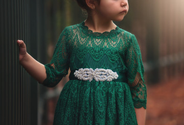 """BELLA RAFAELA DRESS & BELT SET-EMERALD"""