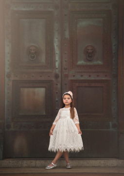 BELLA RAFAELA DRESS & BELT SET- ANTIQUE WHITE