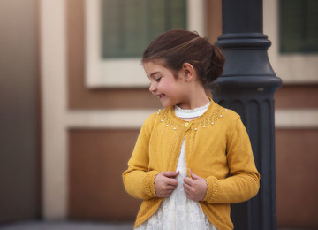 AVERY BEADED CARDIGAN-MUSTARD